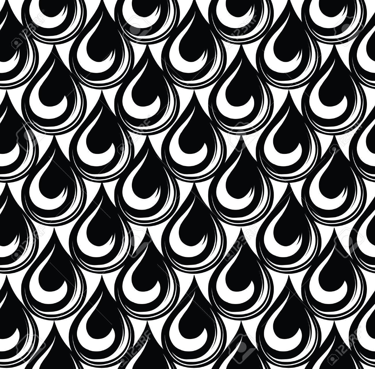 Patrón Transparente Geométrica Vector De Fondo Abstracto Teja De La Textura De La Gota De Agua En Blanco Y Negro Estructura Celular Fresco