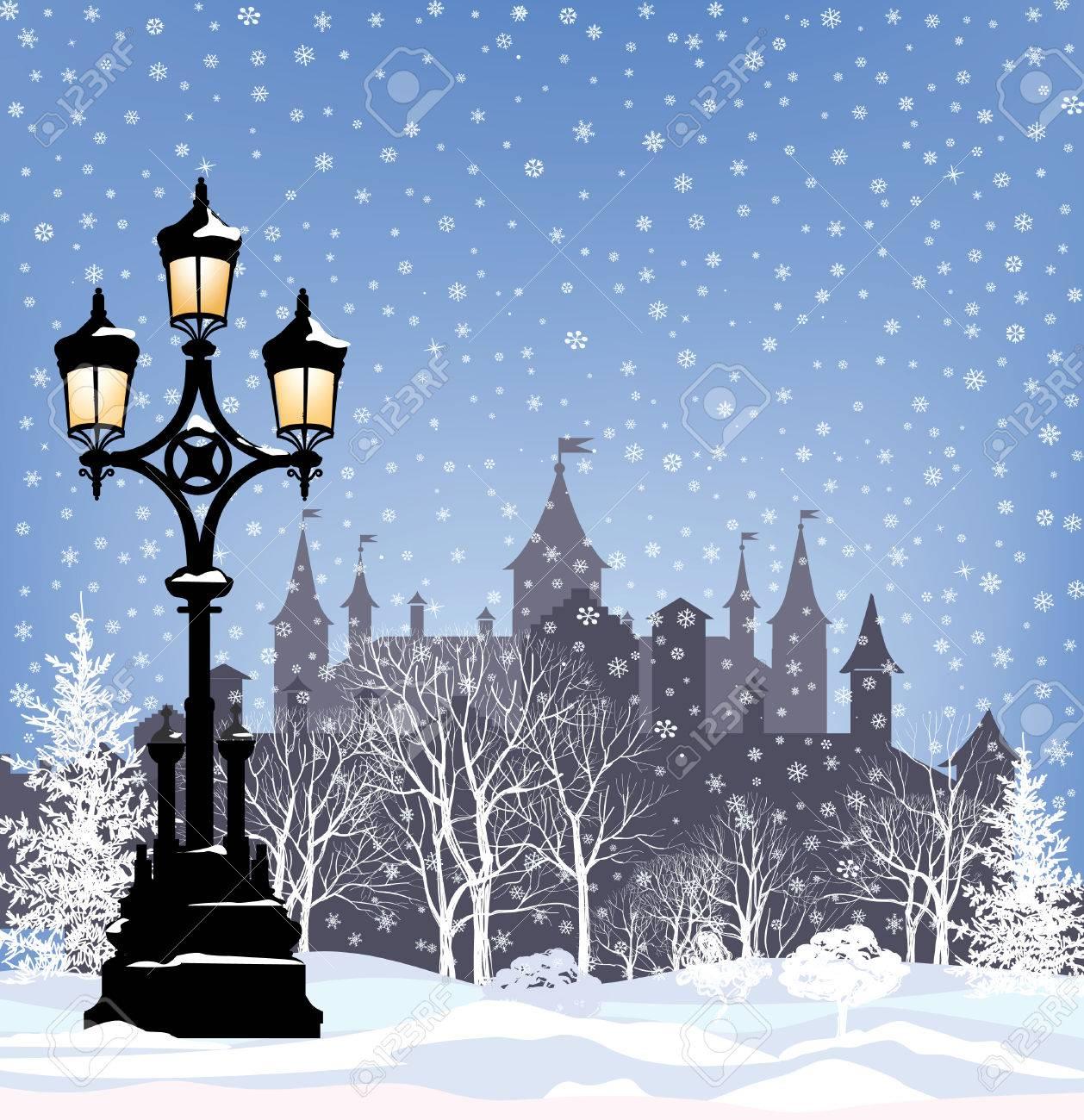 冬のホリデー雪 都市公園の背景 メリー クリスマスのグリーティング
