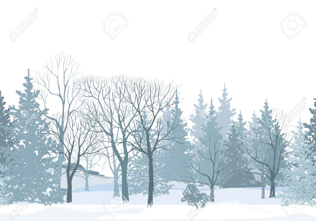 Weihnachten Schnee Baum Grenze. Snowy-Wald Nahtlose Pattern.Tree ...