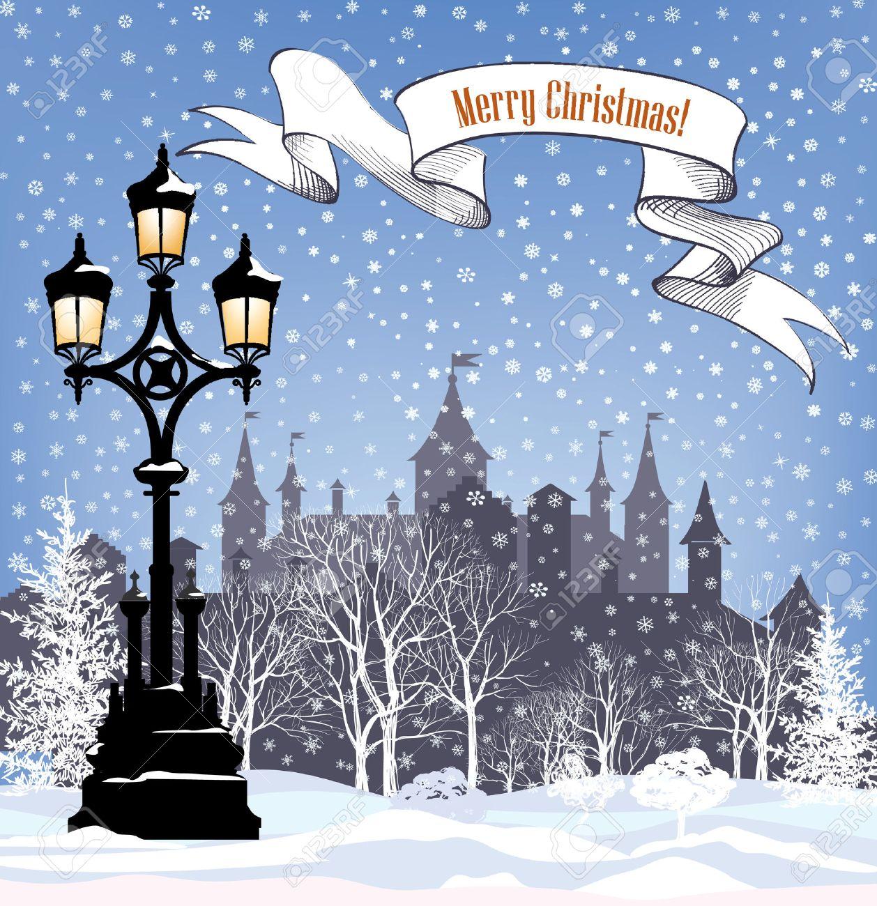 Winterurlaub Schnee Hintergrund. Frohe Weihnachten Grußkarte. Snowy ...