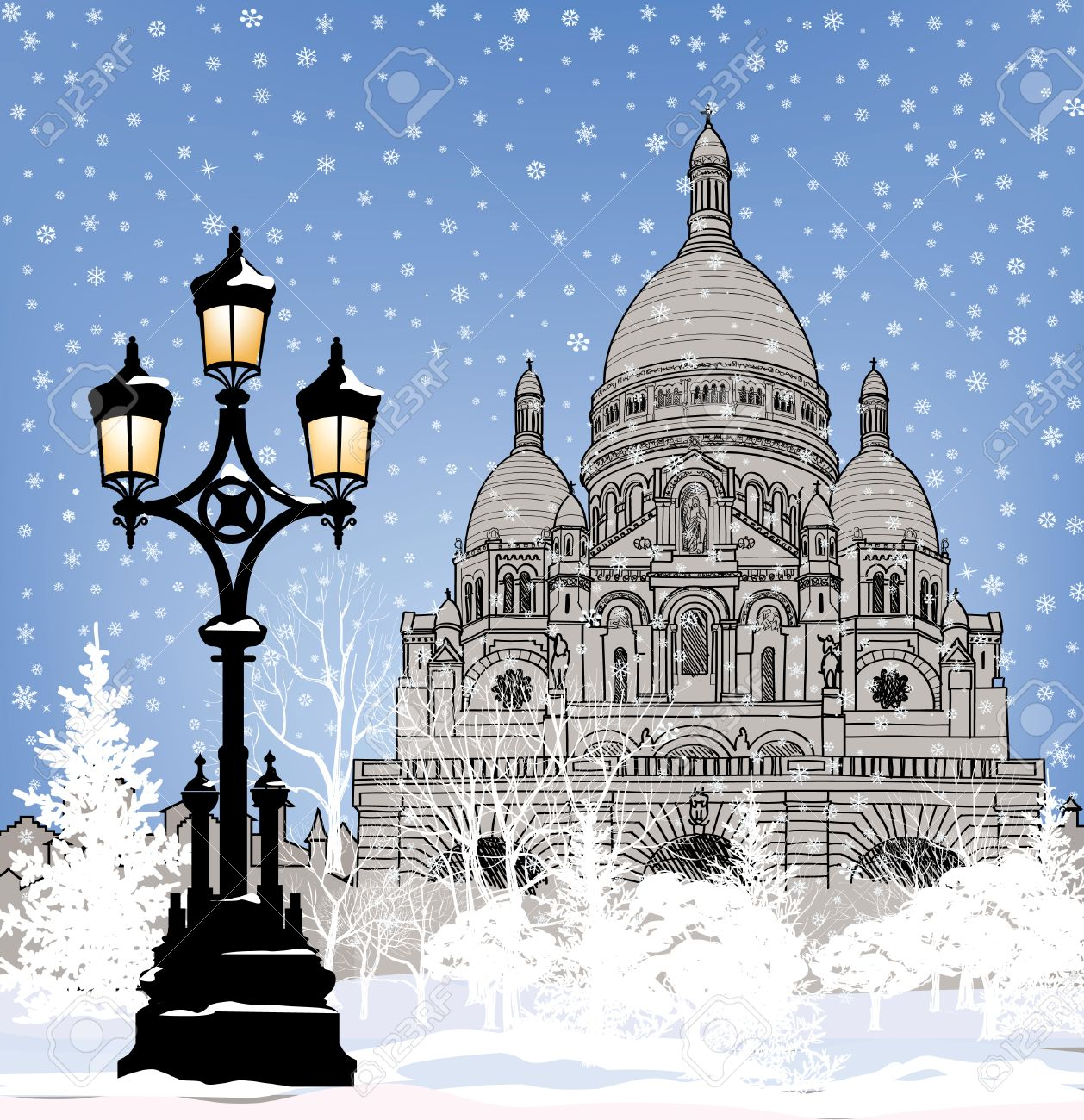 Snowy City Wallpaper Winter Christmas Holiday Snow Background Paris Landmark In Stock