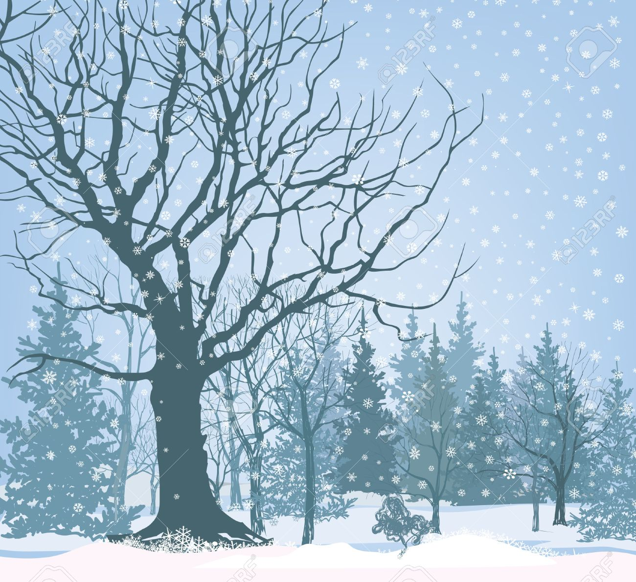Christmas Snow Landscape Wallpaper Snowy Forest Background