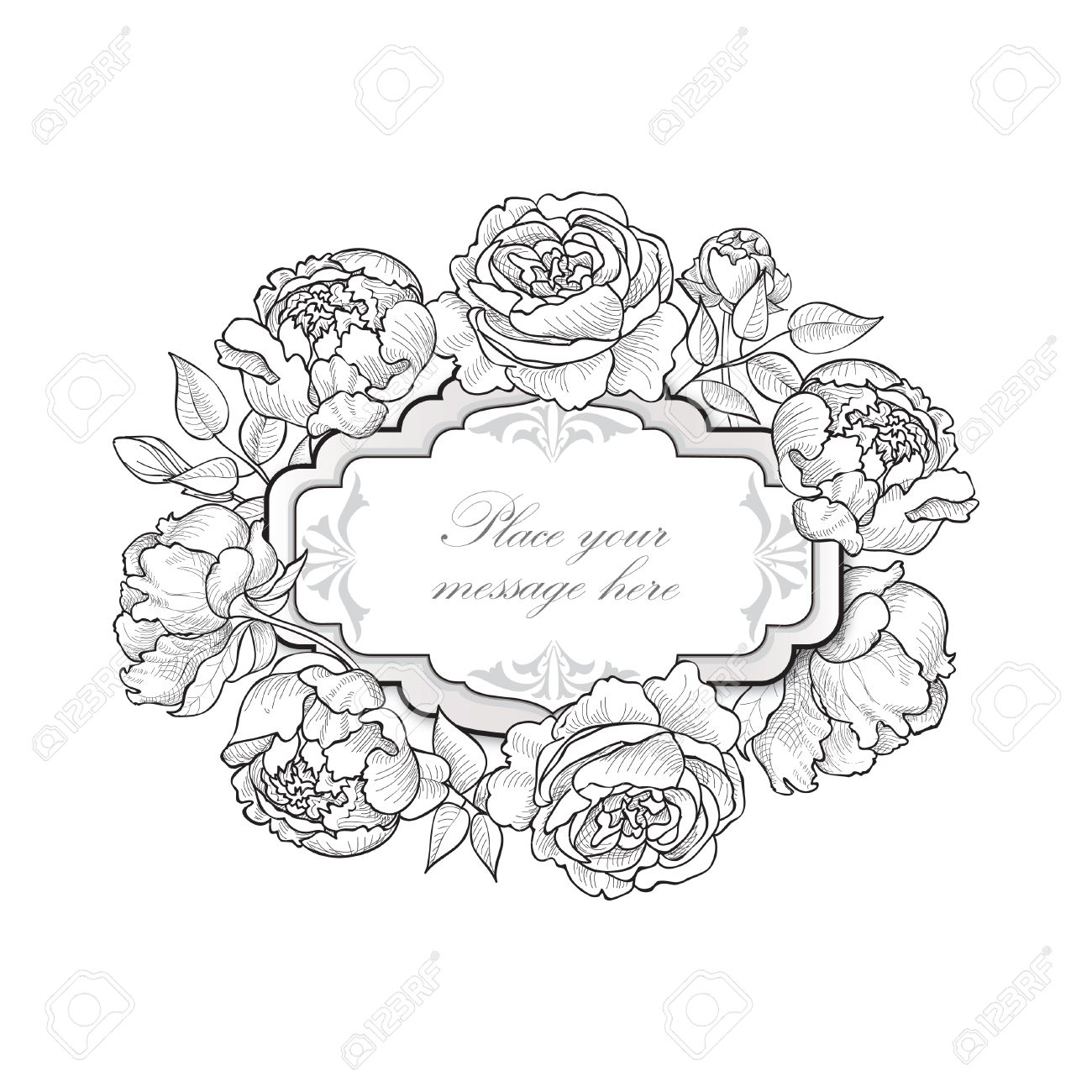 Flower Frame Floral Border Vintage Flourish Background In Victorian Style Stock Vector
