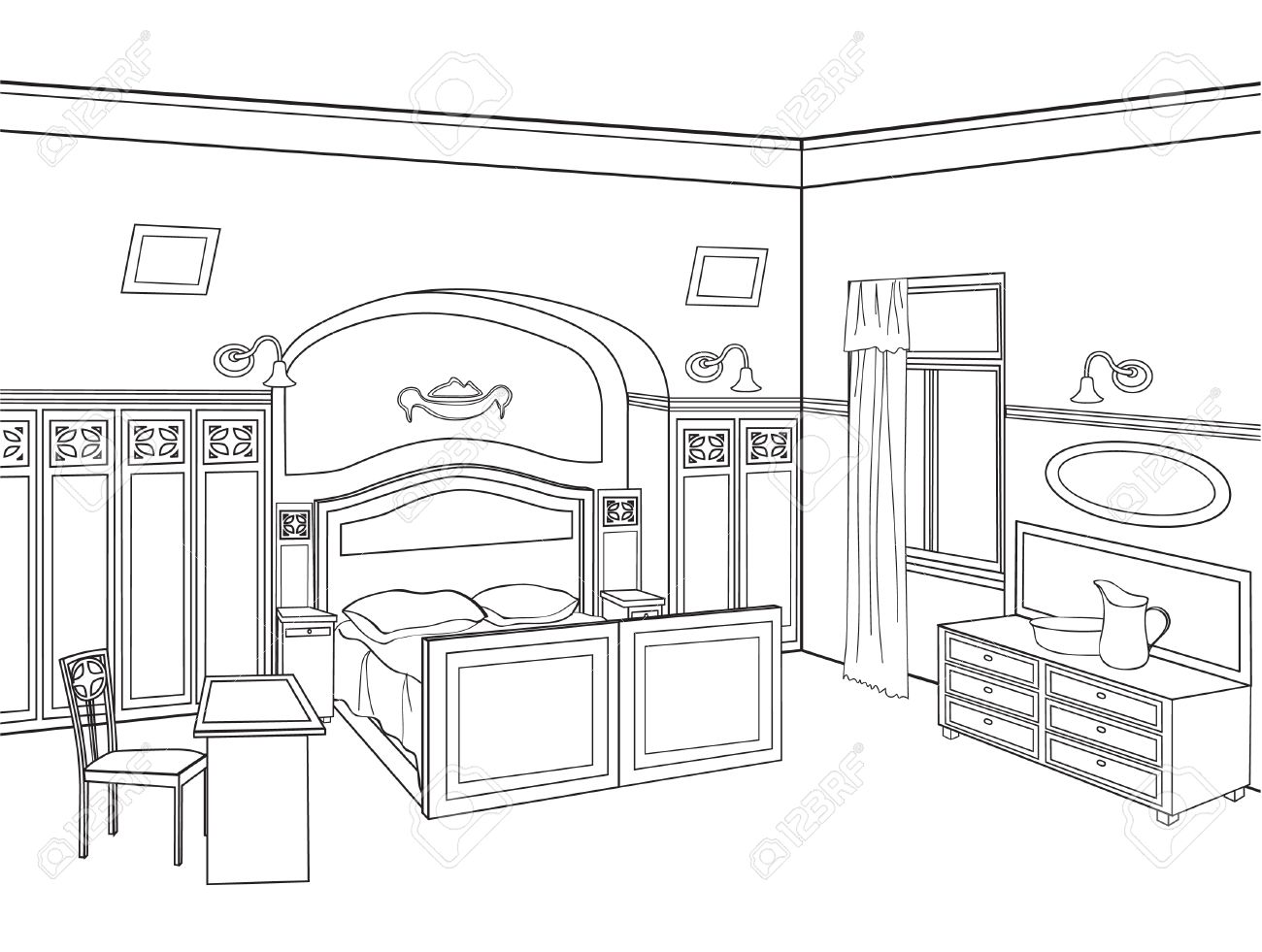 Nice Outline Of A Bedroom  2  Bedroom Furniture  Editable Vector  Illustration Of An Outline Sketch Of A Interior  Graphical Hand. Nice Outline Of A Bedroom  2  Bedroom Furniture  Editable Vector
