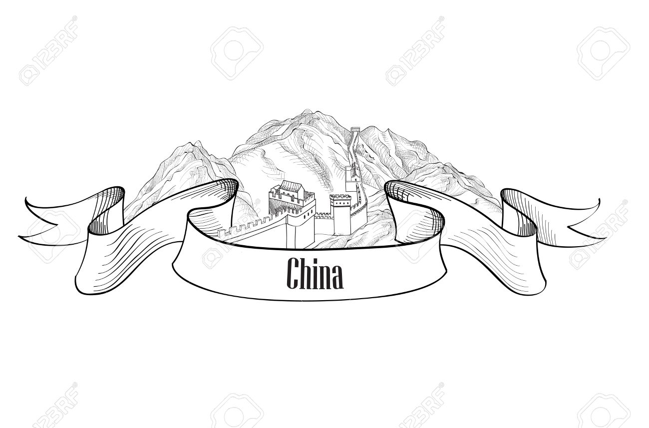 Coloring sheet great wall of china - China Label Travel Asia Label The Great Wall Of China Symbol Sketch Isolated