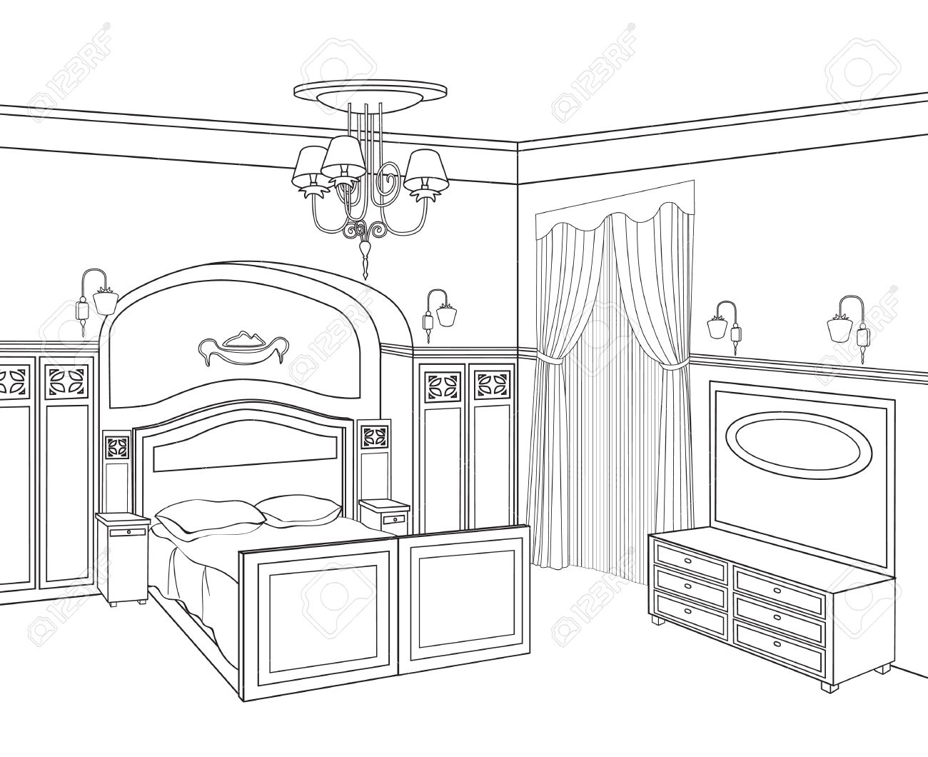 . Bedroom furniture  Retro style room  Editable outline sketch