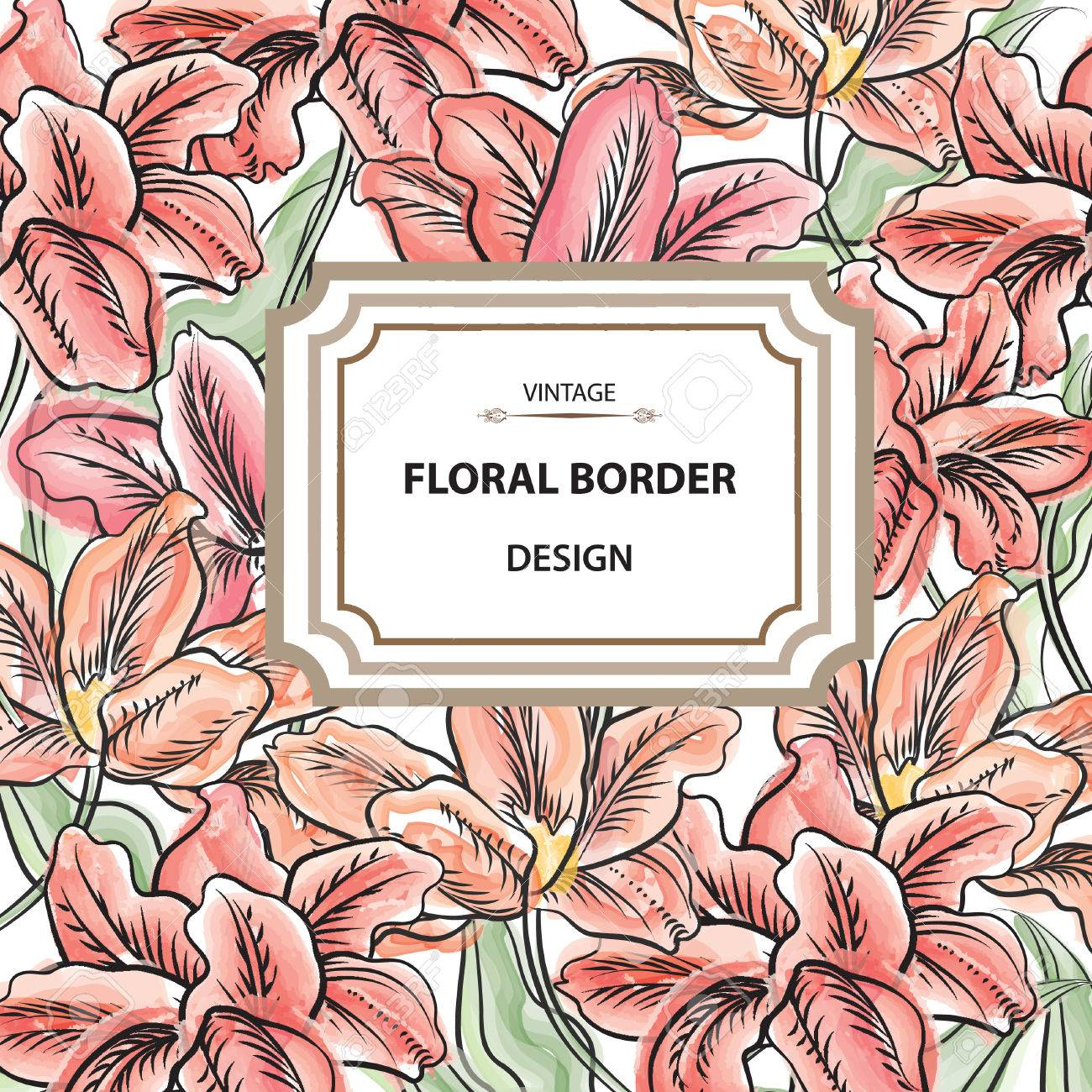 Floral Border Flower Bouquet Background Vintage Flourish Spring Card Or Cover Stock Vector
