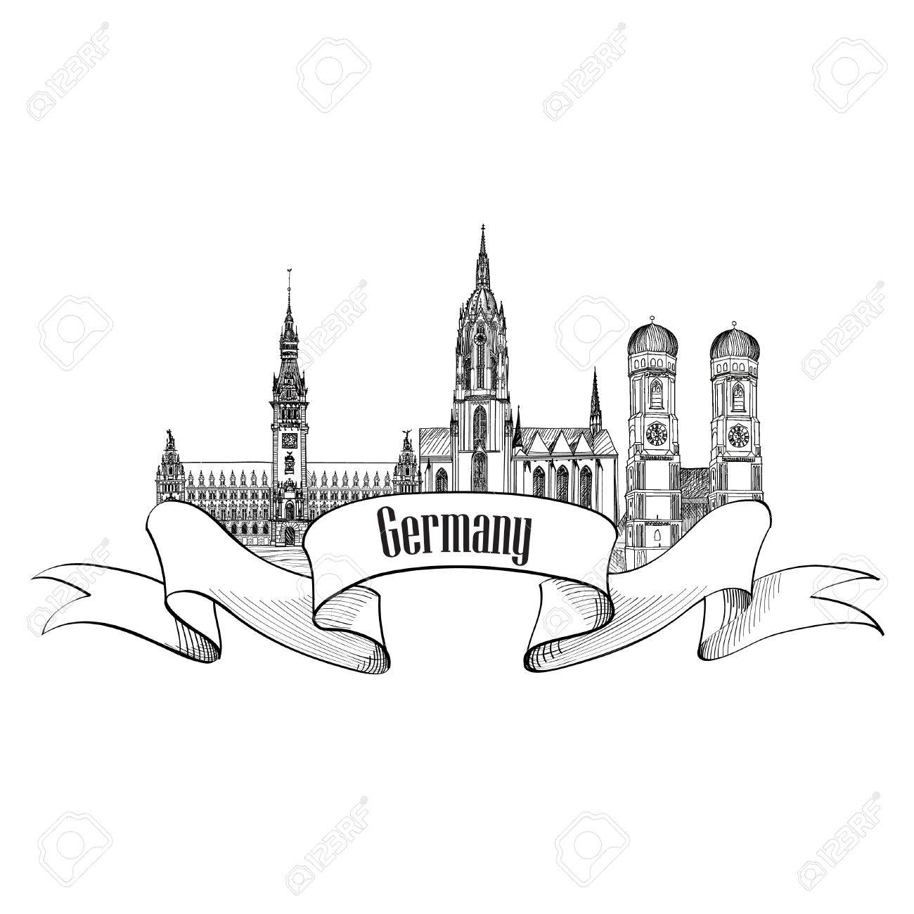 Germany label  Travel German city symbol  Famous german architectural