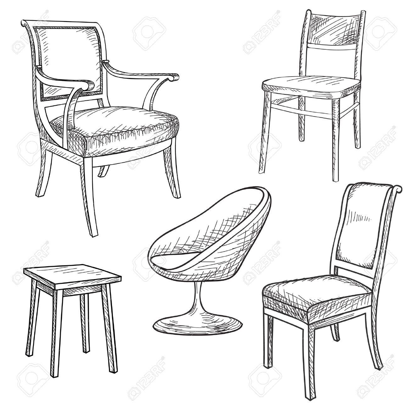 Sessel gezeichnet  Furniture Set. Interior Detail Outline Collection: Chair, Armchair ...