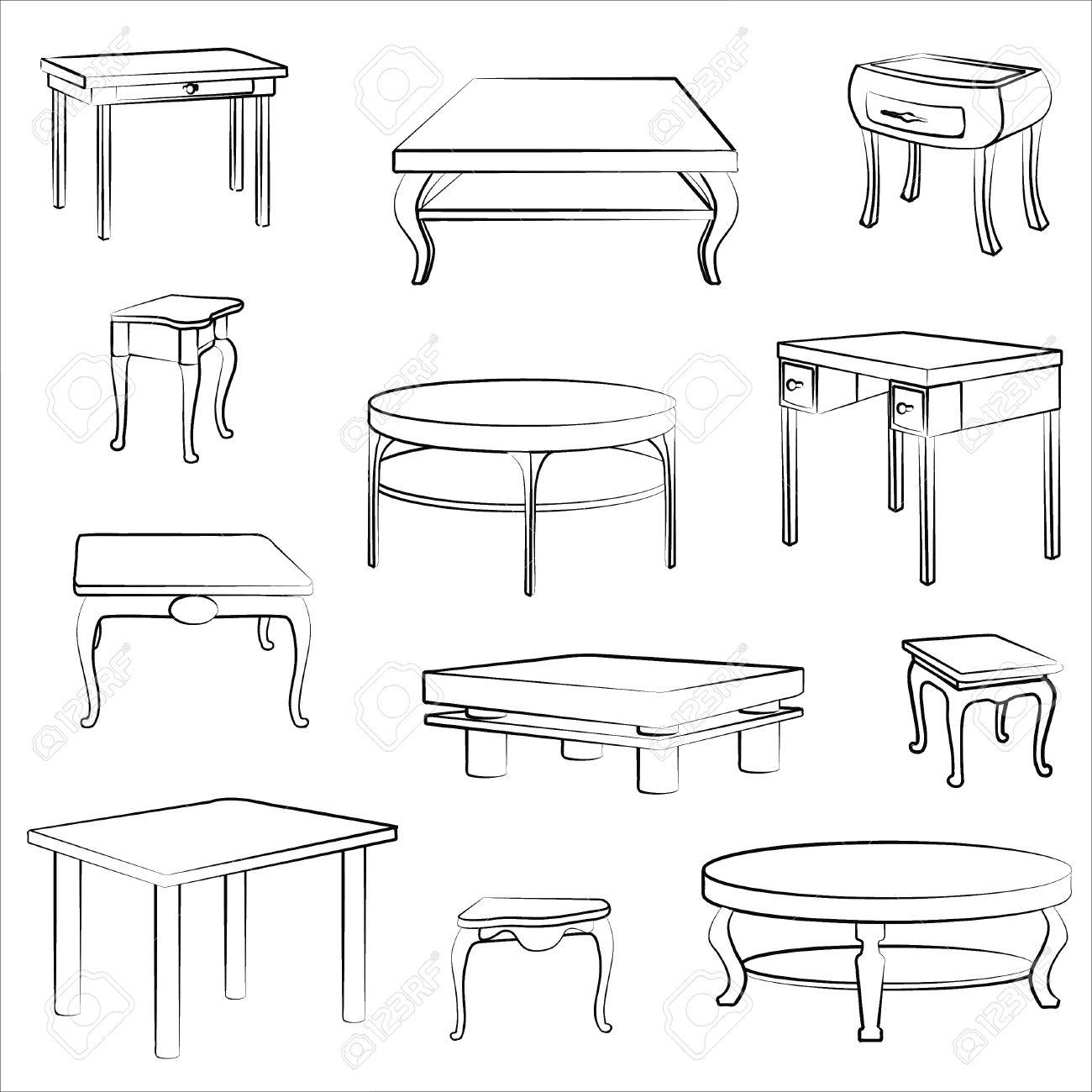 Schreibtisch gezeichnet  Stuhl Gezeichnet