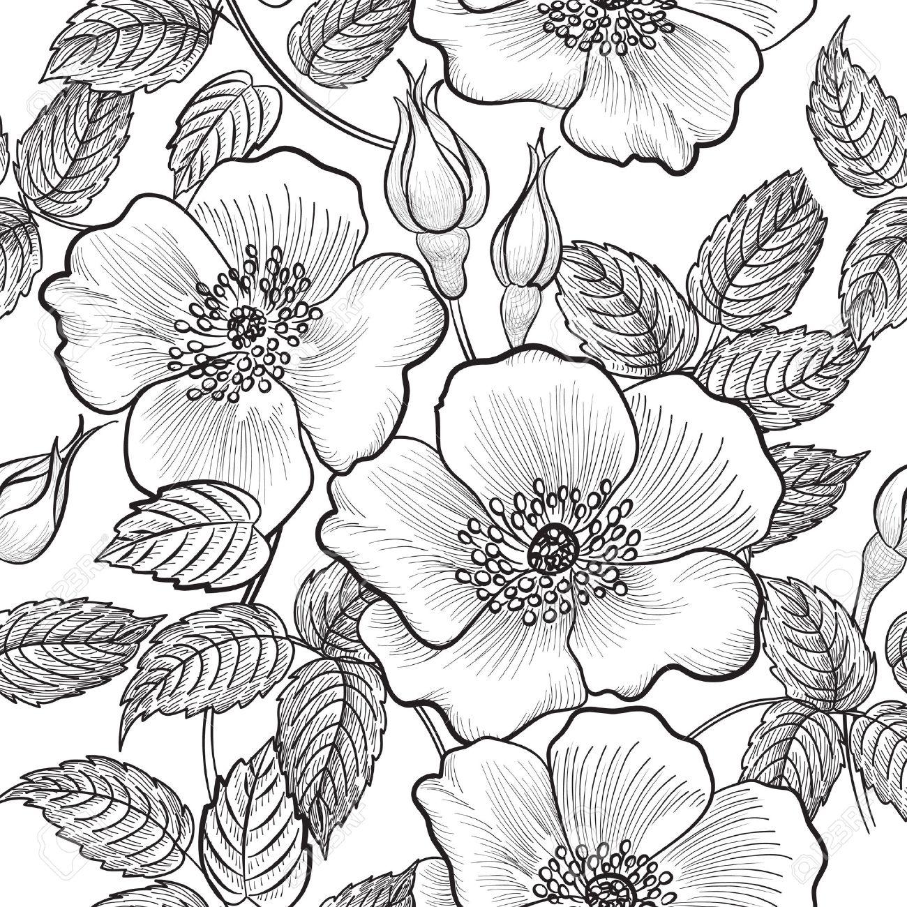 Floral seamless pattern. Fleur silhouette fond noir et blanc. Floral  seamless texture décoratif avec des fleurs.