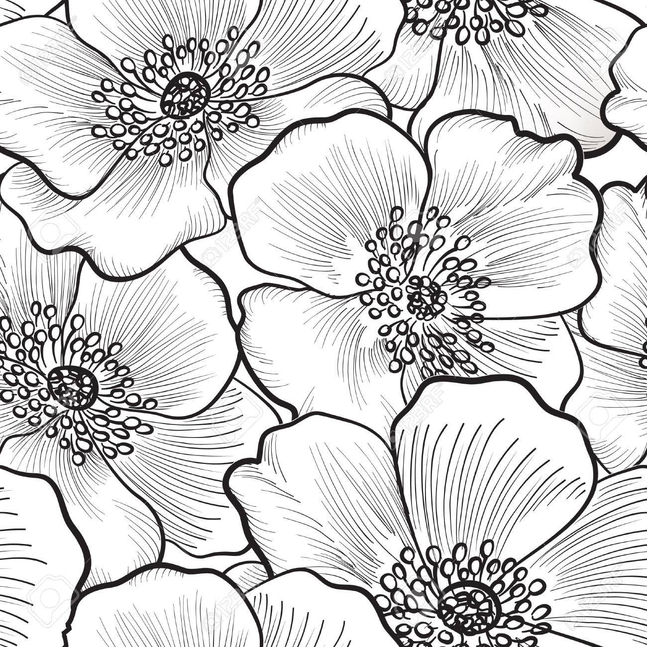 Floral seamless pattern flower silhouette black and white floral seamless pattern flower silhouette black and white background floral decorative seamless texture with mightylinksfo