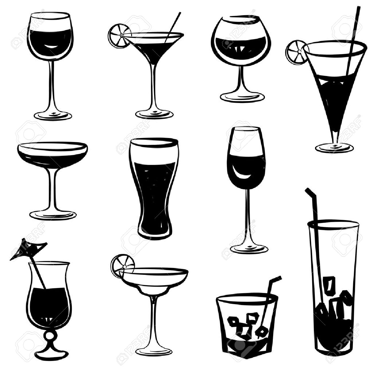 glass vector silhouette collection set of different cocktail rh 123rf com grass vector grass vector free