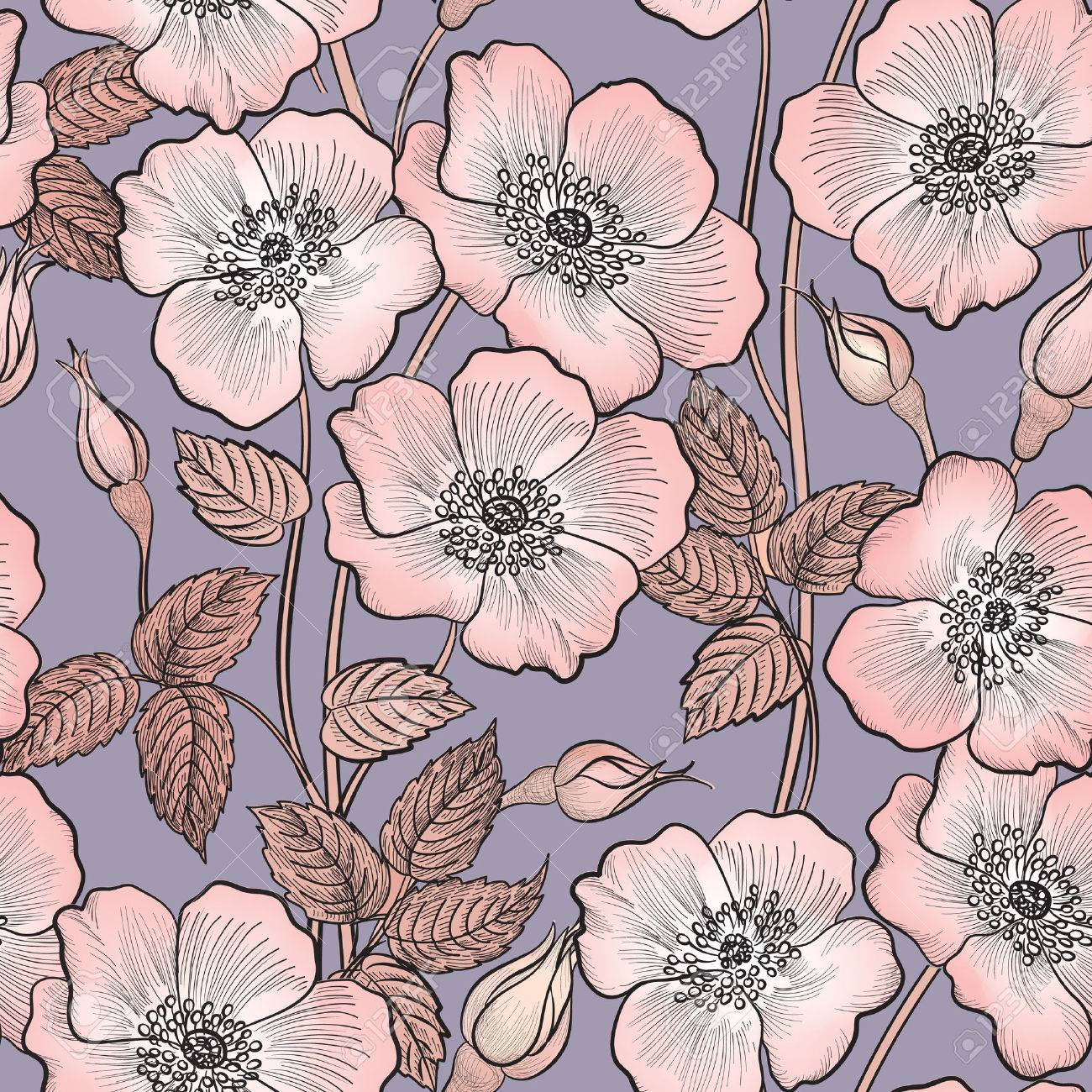 Floral seamless pattern. Flower background. Floral seamless texture with flowers. Stock Vector - 43150042