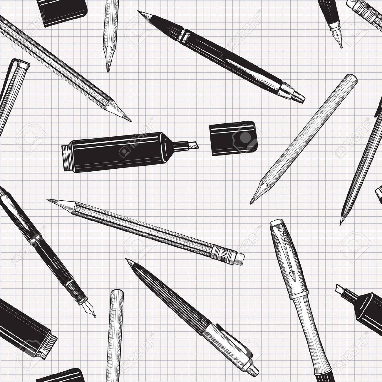 Schreibtisch gezeichnet  Schreibset Nahtlose Muster. Hand Gezeichnet Vektor. Bleistifte ...