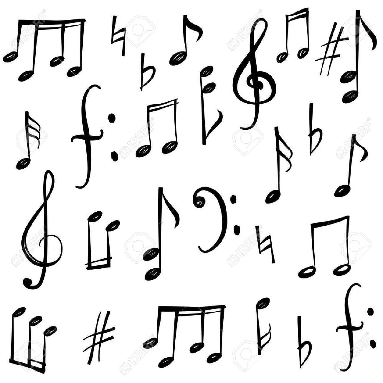 Music Notes And Signs Set. Hand Drawn Music Symbol Sketch ...
