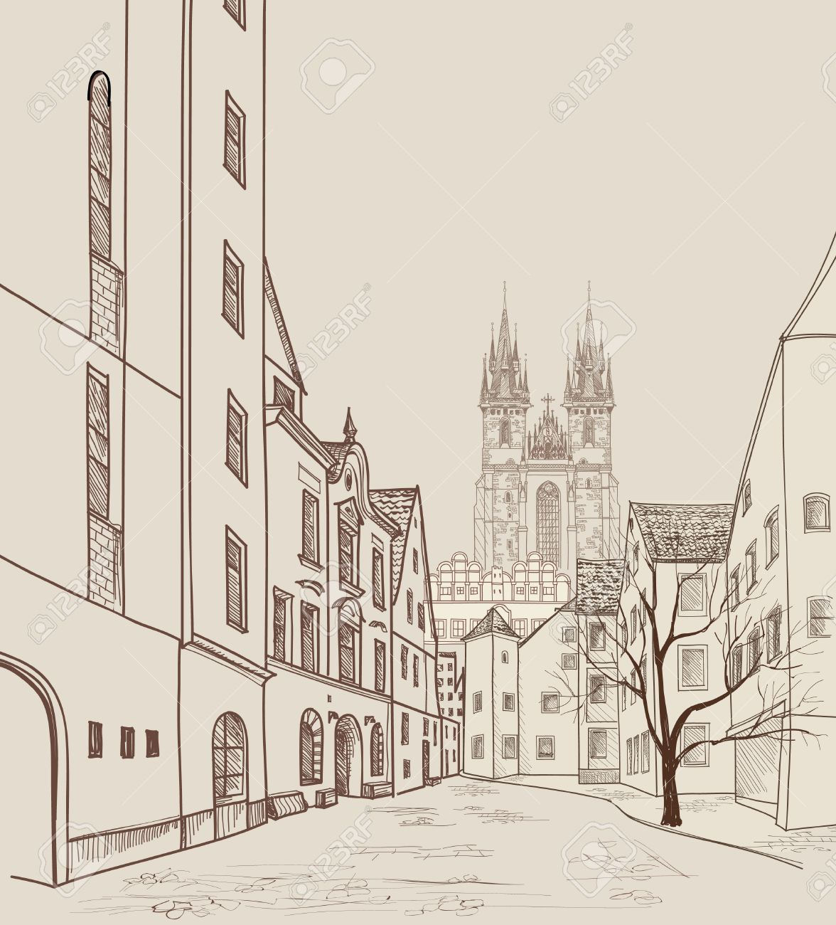 Old Town of Prague, Czech Republic. Pedestrian street in the old european city with tower on the background. Historic city street. Travel Prague bakcground. Stock Vector - 44973823