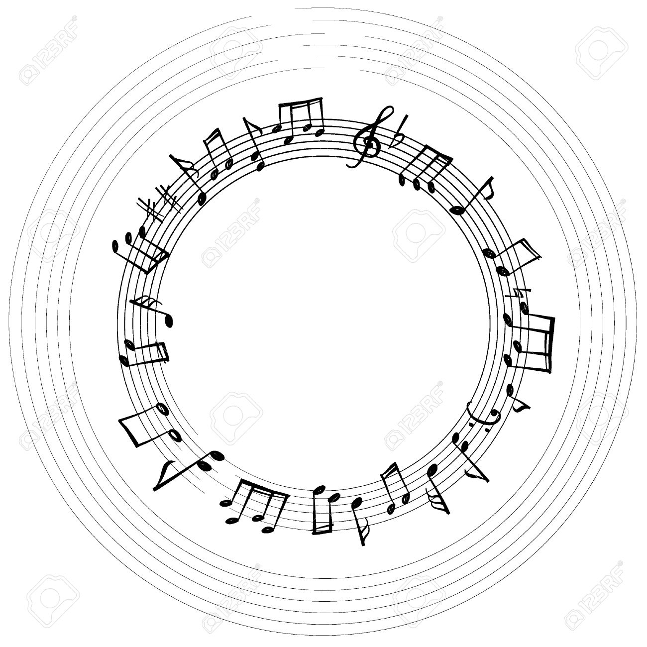 Music Notes Border Musical Background Style Round Shape Frame With Copy Space For
