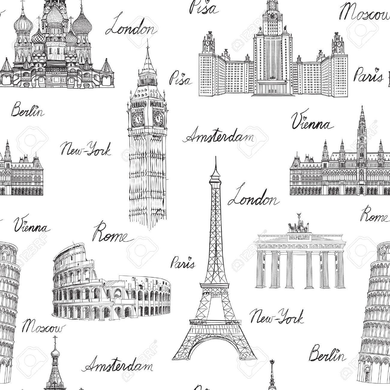 Travel seamless pattern. Vacation in Europe wallpaper. Travel to visit famous places of Europe background. Landmark tiled grunge pattern. Stock Vector - 44974388