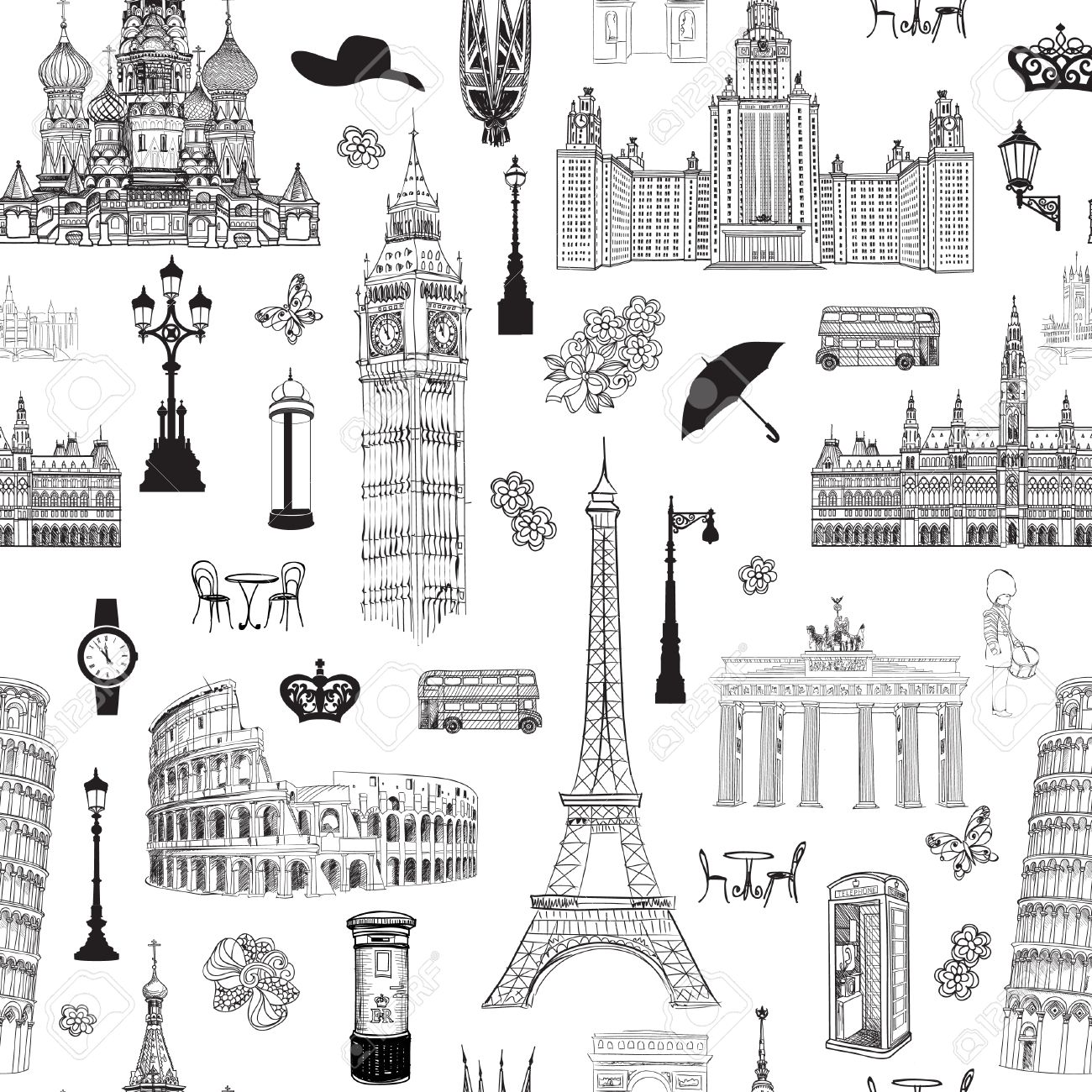 Travel seamless pattern. Vacation in Europe wallpaper. Travel to visit famous places of Europe background. Landmark tiled grunge pattern. Stock Vector - 44974401