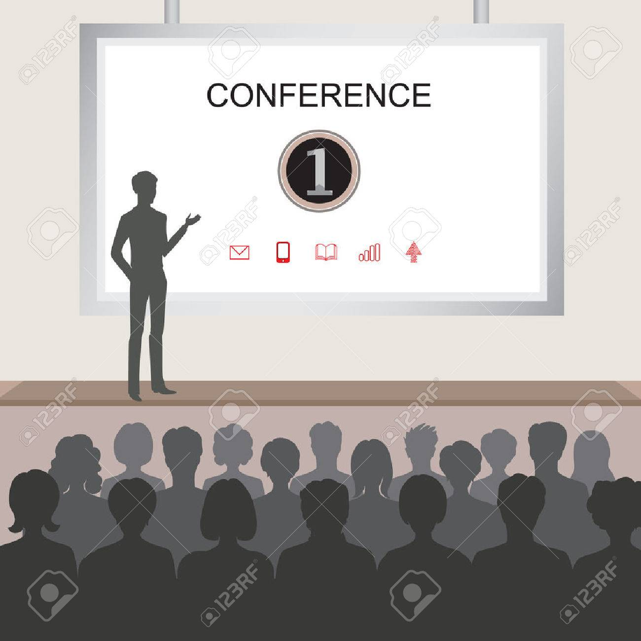 Conference room illustration. People at the conference hall. Business meeting template Stock Vector - 44974413
