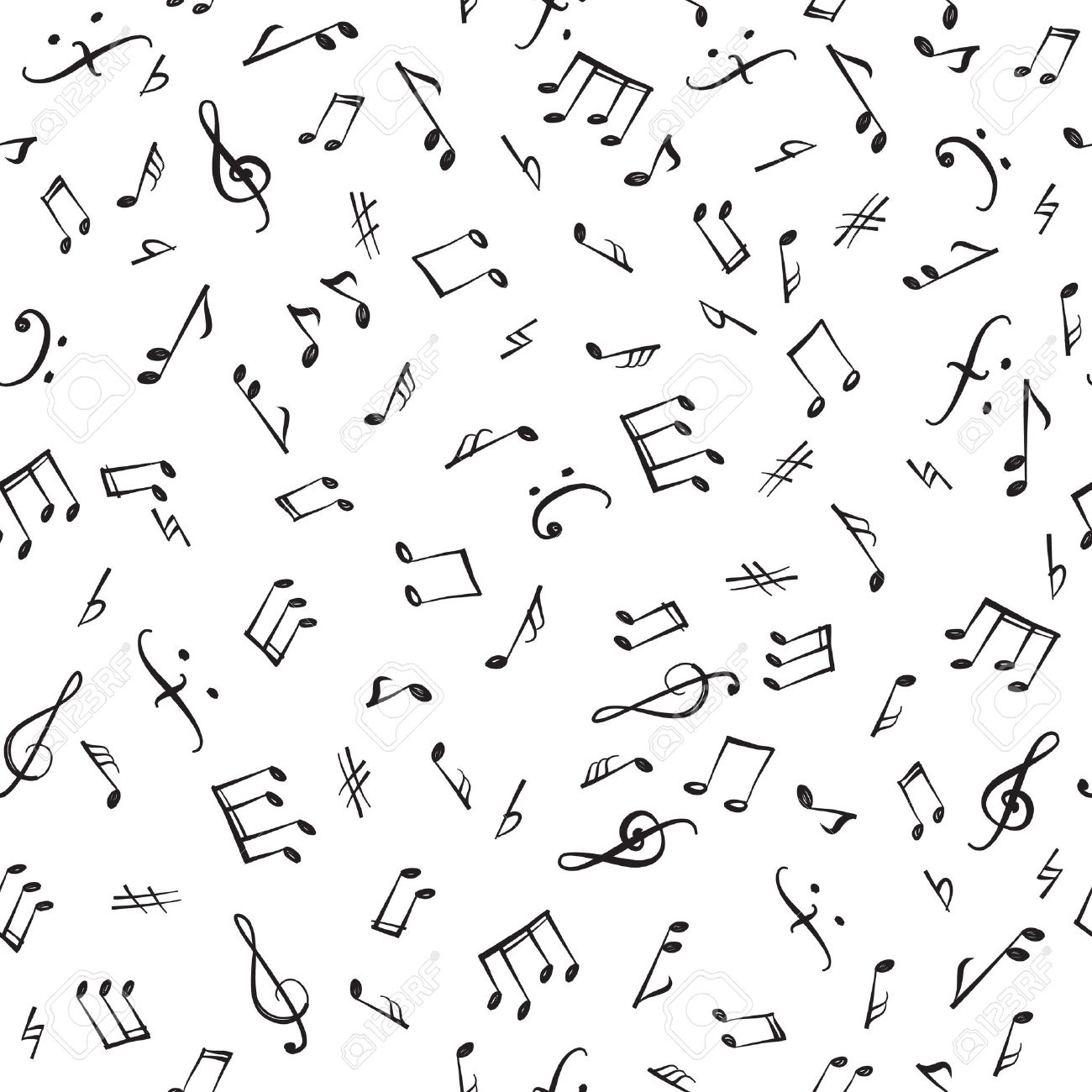 Music Notes And Elements Seamless Pattern Musical Tiling Background