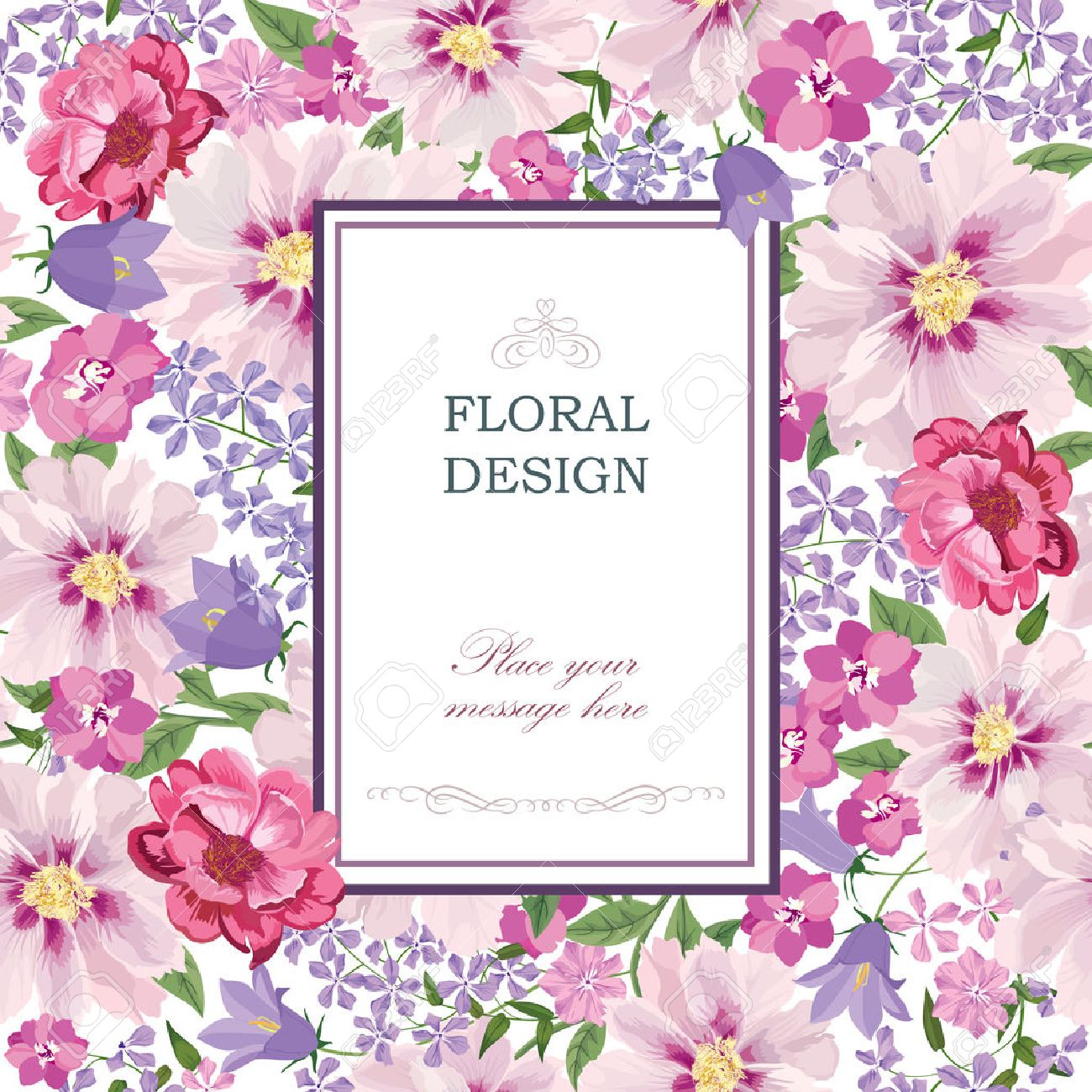 Floral background. Flower bouquet vintage cover. Flourish card with copy space. Stock Vector - 46073380