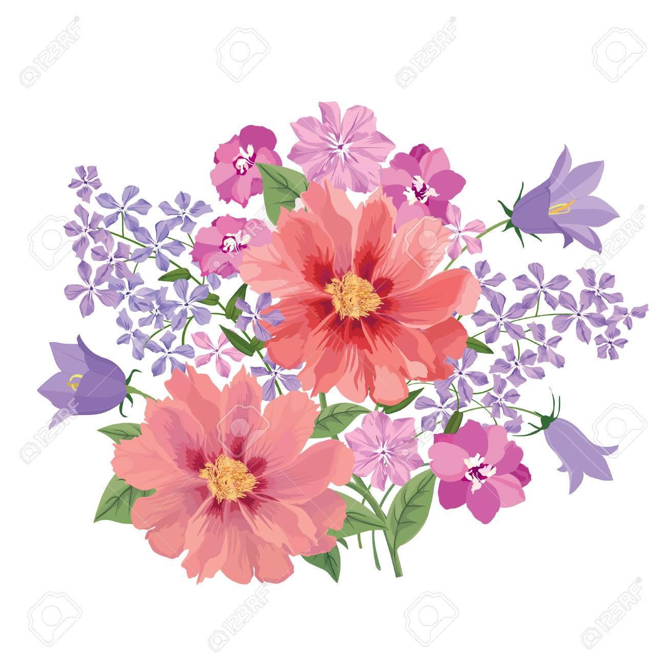 Ramo De La Flor. Marco Floral. Flourish Tarjeta De Felicitación ...