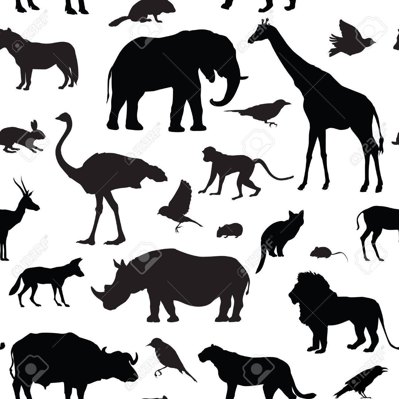 Animals silhouette seamless pattern. Wildlife tiled textured backgroun. African animals seamless pattern Stock Vector - 46073418
