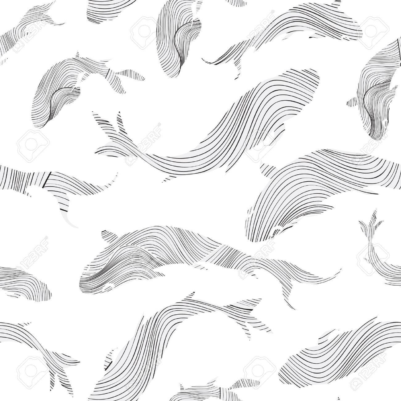 Fish seamless pattern Sketch underwater marine textured background. Stock Vector - 46073501