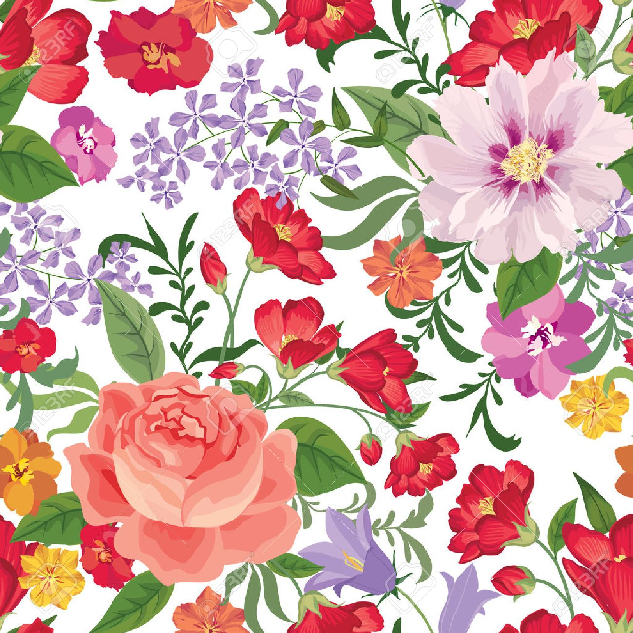 Floral Seamless Pattern Flower Background Texture With Flowers Flourish Tiled Wallpaper