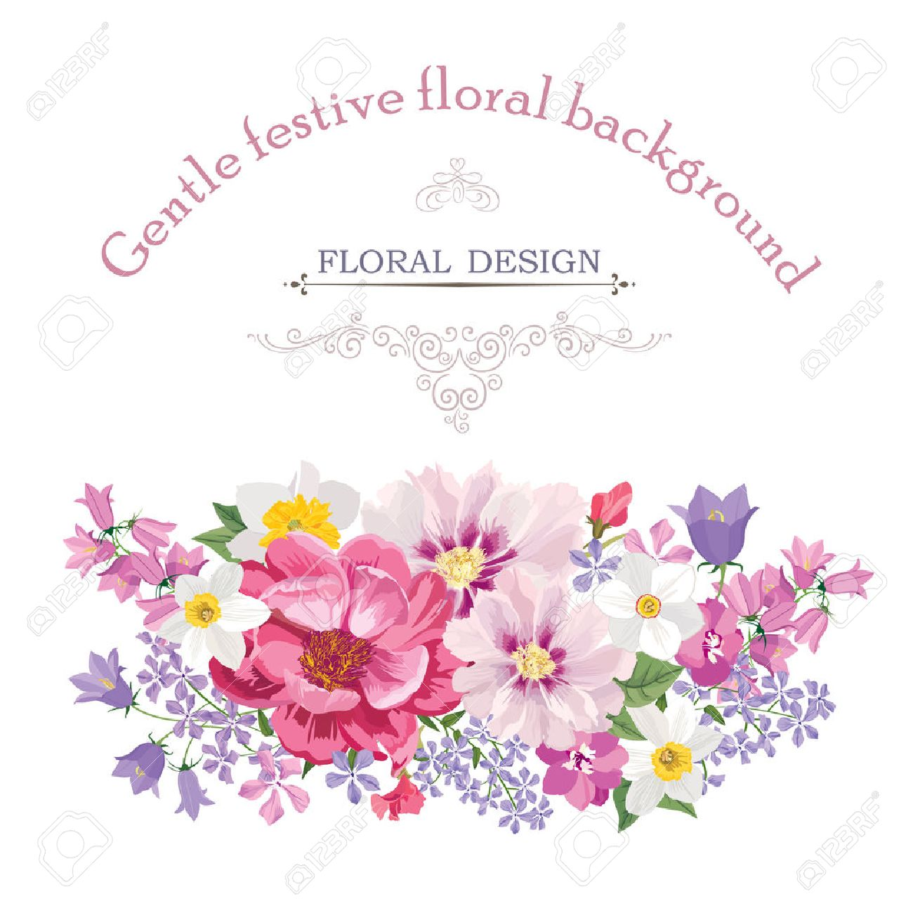 Floral frame with summer flowers. Floral bouquet with rose, narcissus, carnation, lilac and wildflower. Vintage Greeting Card with flowers. Watercolor flourish border. Floral background. - 46073574