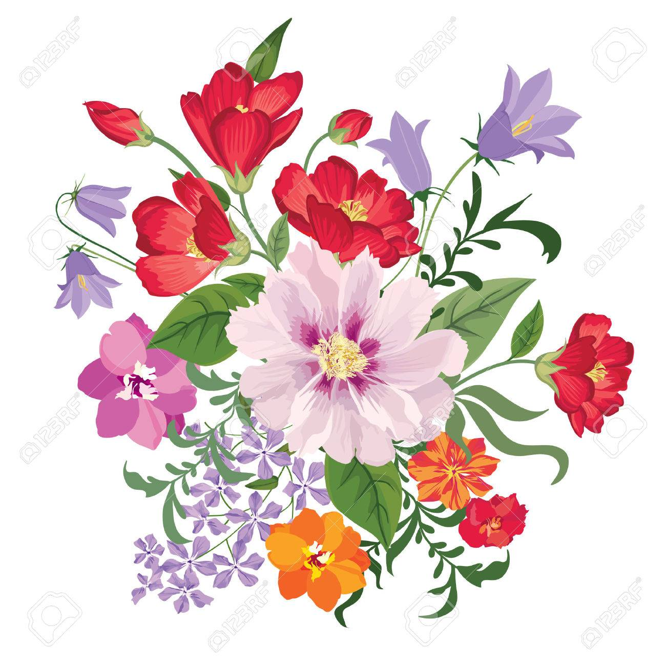 Flower bouquet. Floral frame. Flourish greeting card. Blooming flowers isolated on white background Stock Vector - 46073593