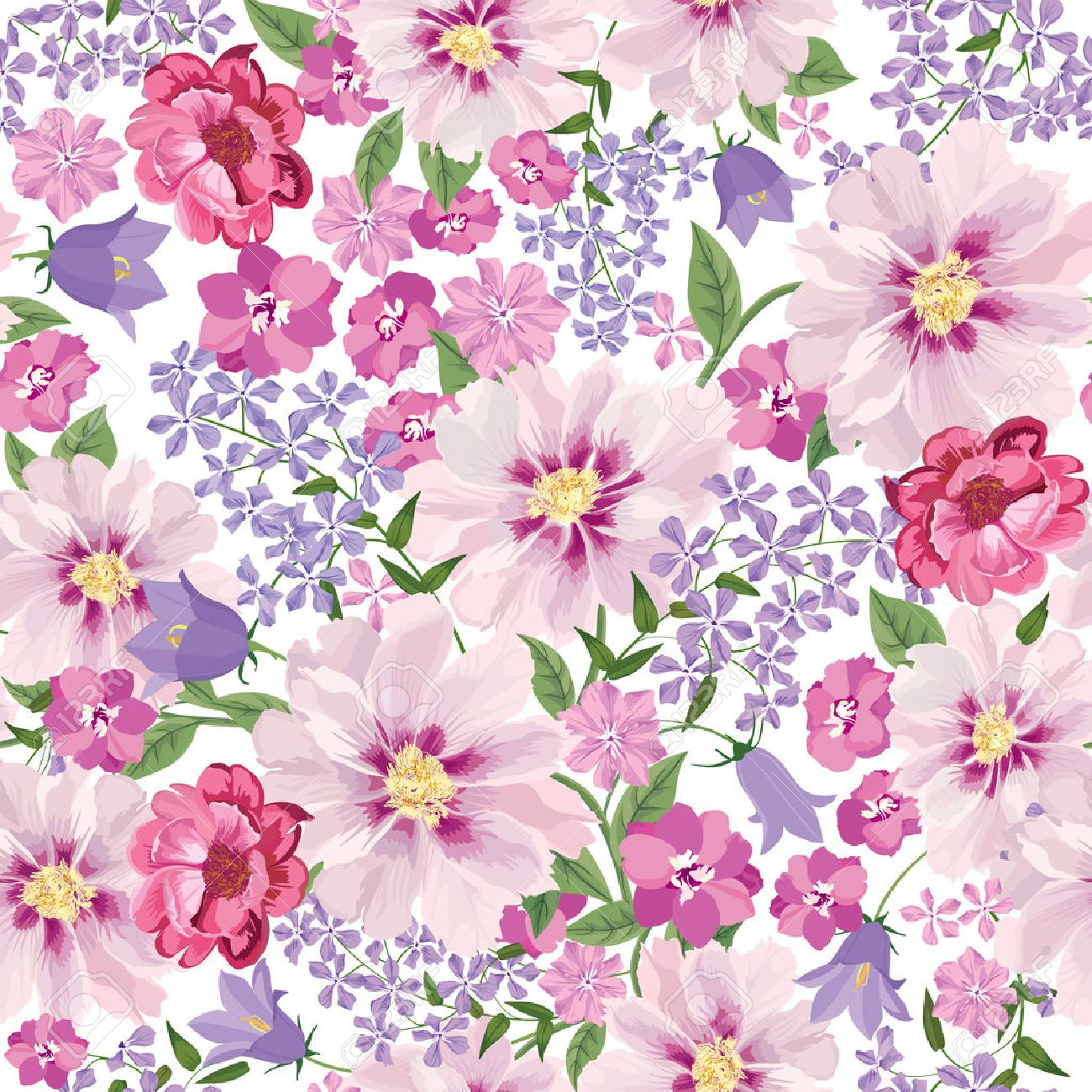 Floral seamless pattern. Flower background. Floral seamless texture with flowers. Flourish tiled wallpaper Stock Vector - 46073596