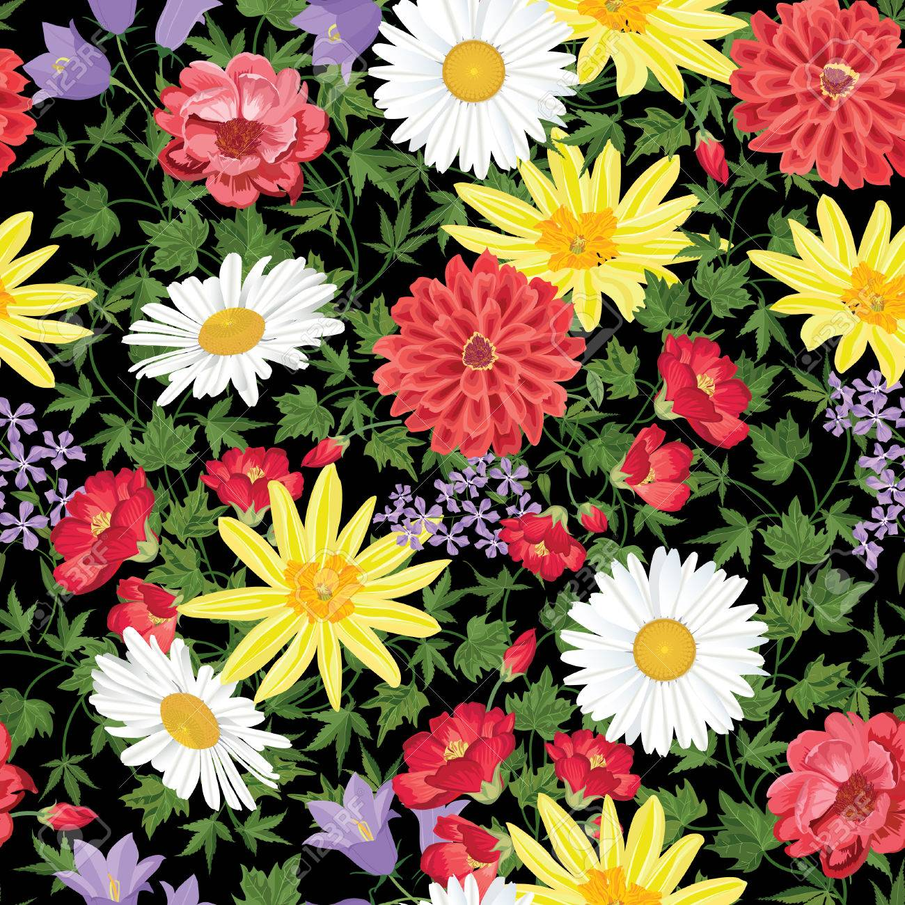 Floral seamless pattern Flower background. Floral seamless texture with flowers. Flourish tiled wallpaper Stock Vector - 46921929