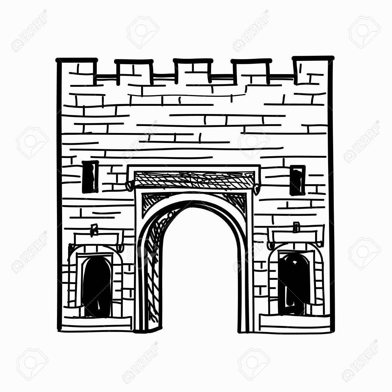 Arch Gates In Fortress Wall Doorway To Town Castle Architectural Draft Stock Vector