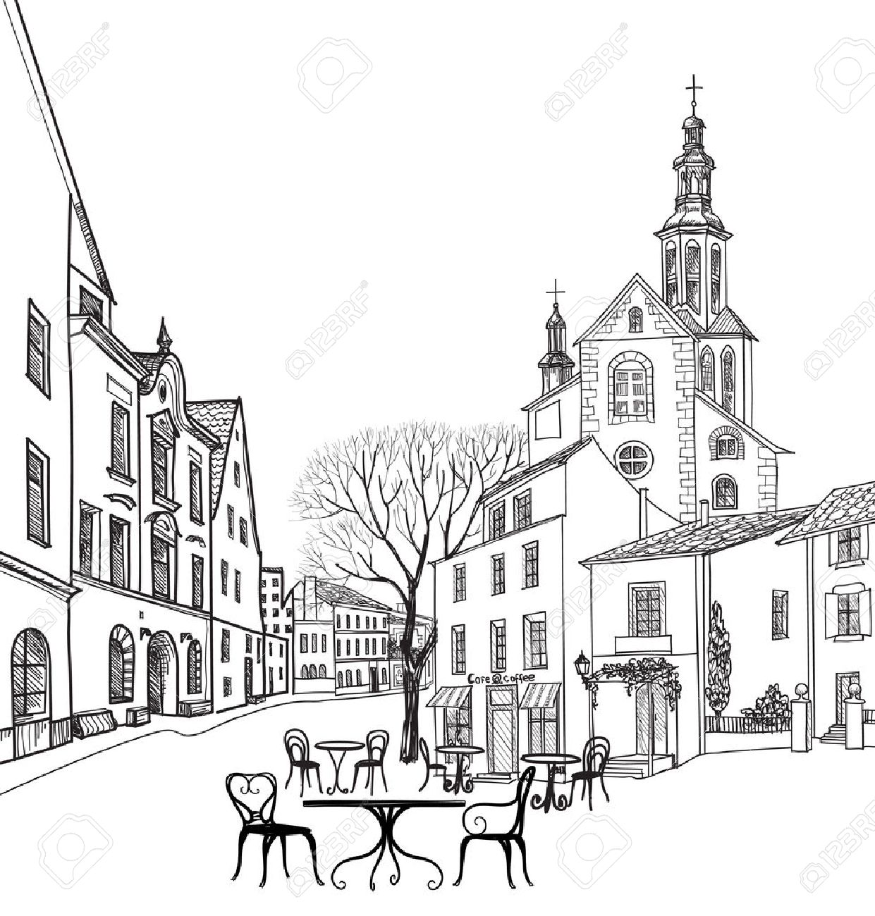 Street cafe in old city. Cityscape - houses, buildings and tree on alleyway. Old city view. Medieval european castle landscape. Pencil drawn vector sketch Stock Vector - 46921940
