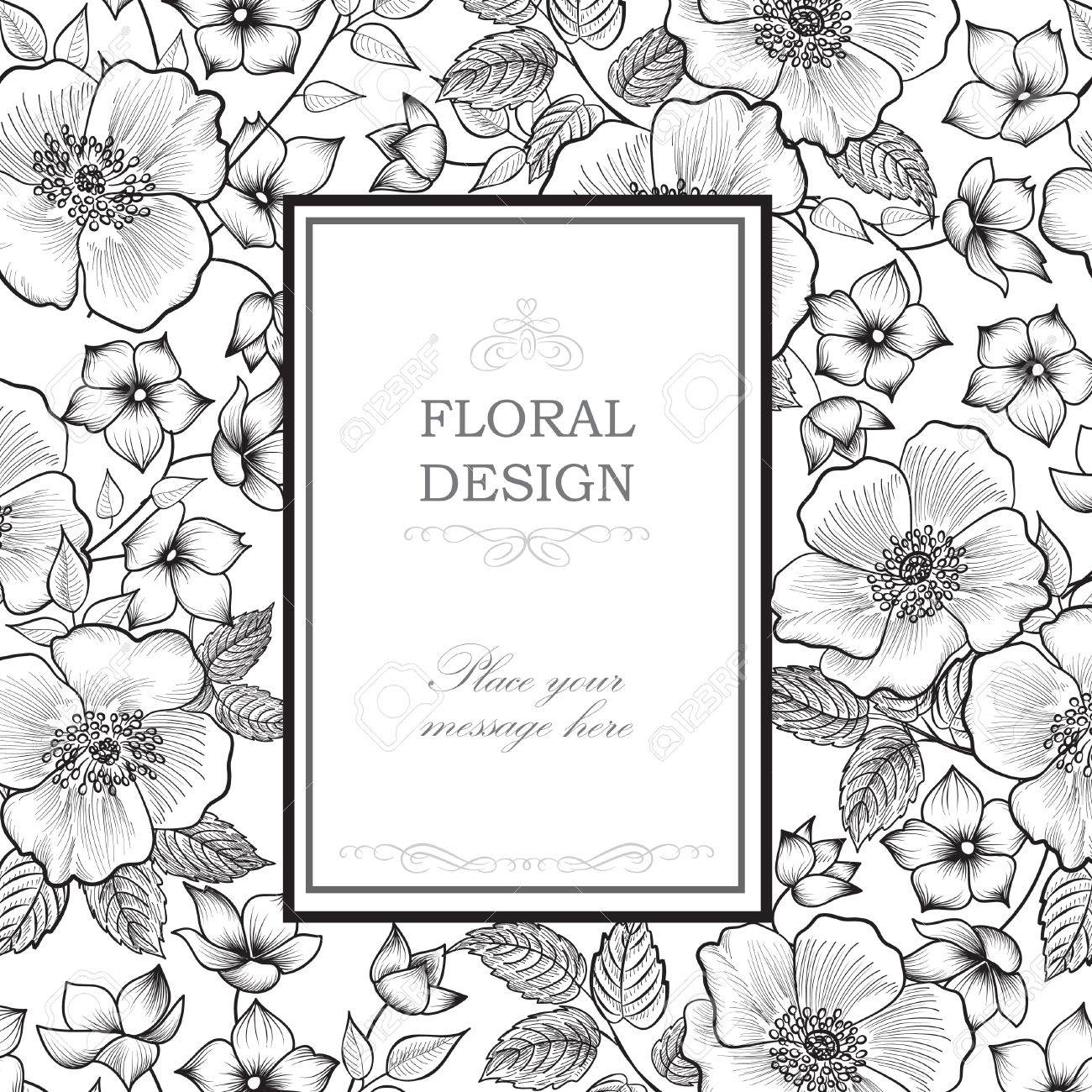 Floral frame with summer flowers. Floral bouquet pattern. Vintage Greeting Card with flowers. Watercolor flourish border. Floral background. Stock Vector - 46921944