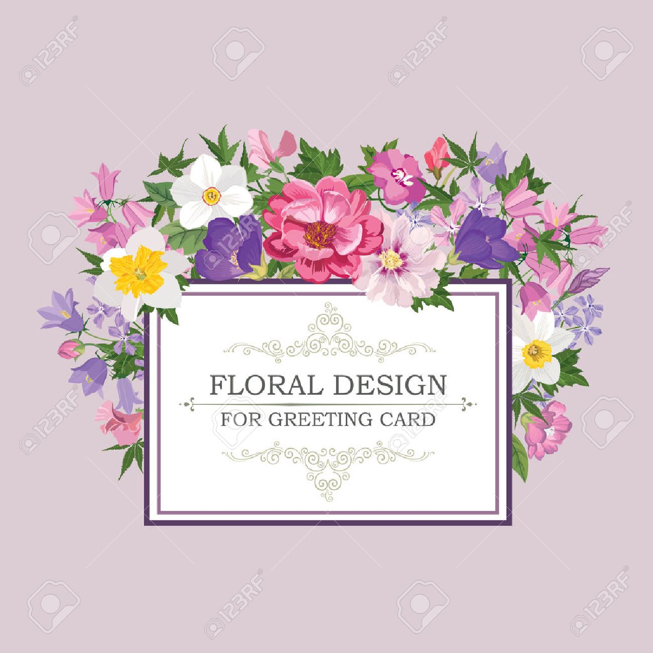 Floral frame with summer flowers. Floral bouquet pattern. Vintage Greeting Card with flowers. Watercolor flourish border. Floral background. Stock Vector - 46922009