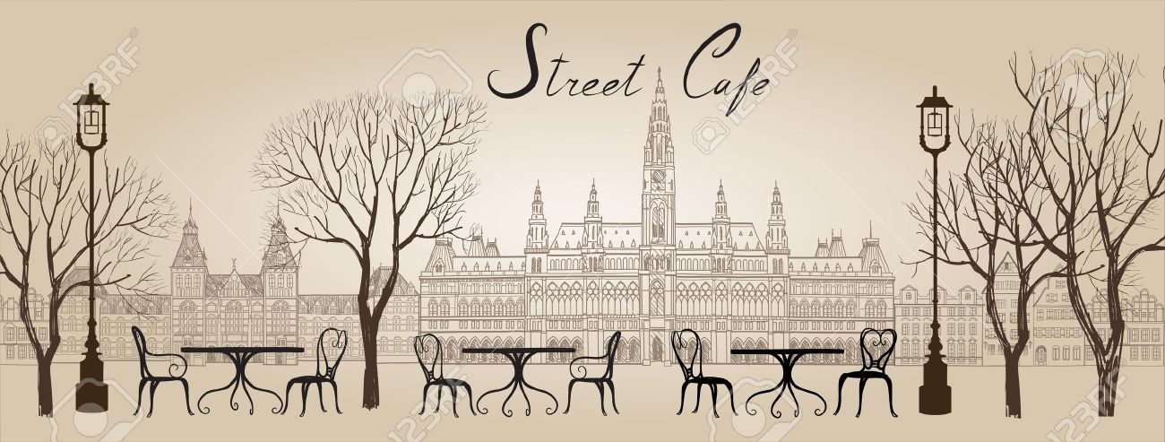 Street cafe in old town graphic illustration. Old cown views and street cafes. Dining hours along a Vienna cobblestone alley Stock Vector - 48442867