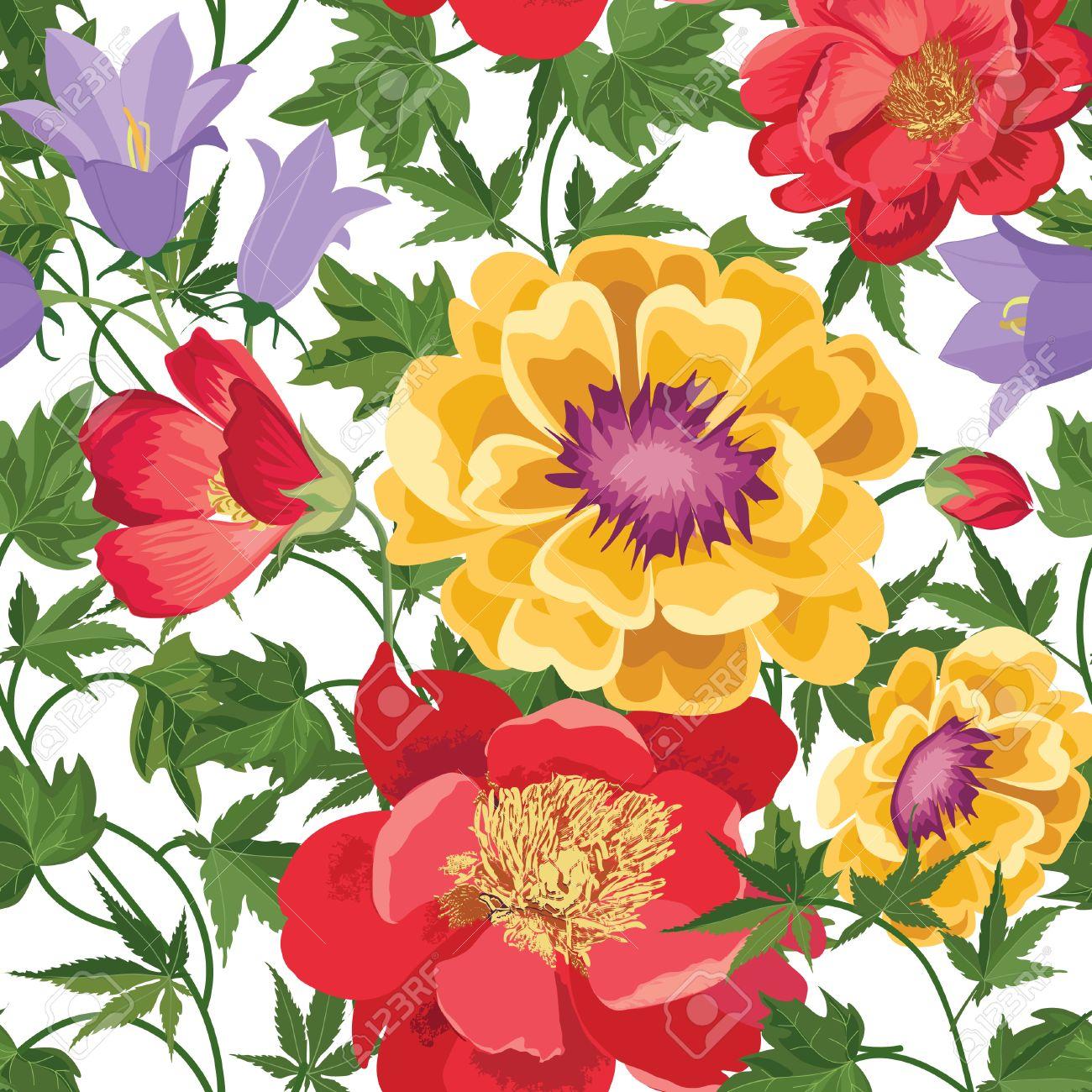 Floral Seamless Pattern Flower Background Blumenfliesen Fruhjahr