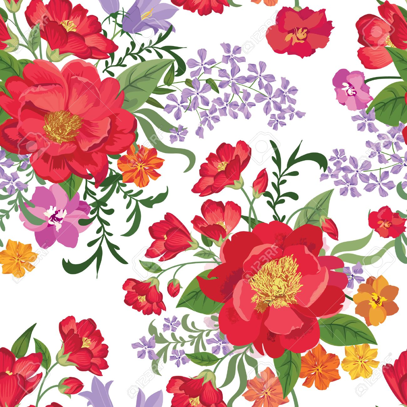 Floral seamless pattern. Flower background. Floral tile spring texture with flowers. Spring flourish garden Stock Vector - 48447762
