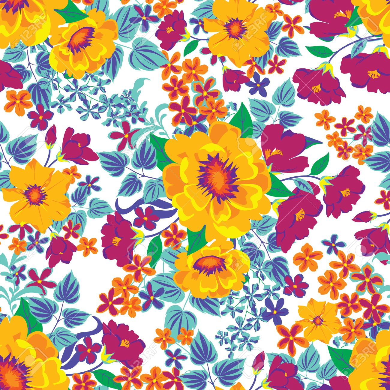 Floral Seamless Pattern Flower Background Floral Tile Fall