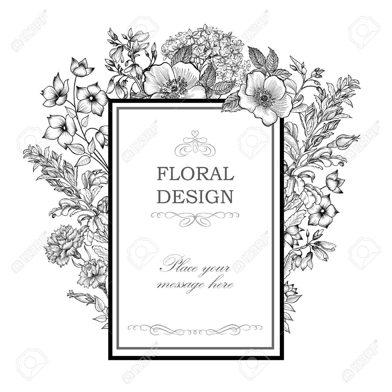 Floral background. Flower bouquet vintage cover. Flourish card with copy space. Stock Vector - 48447963