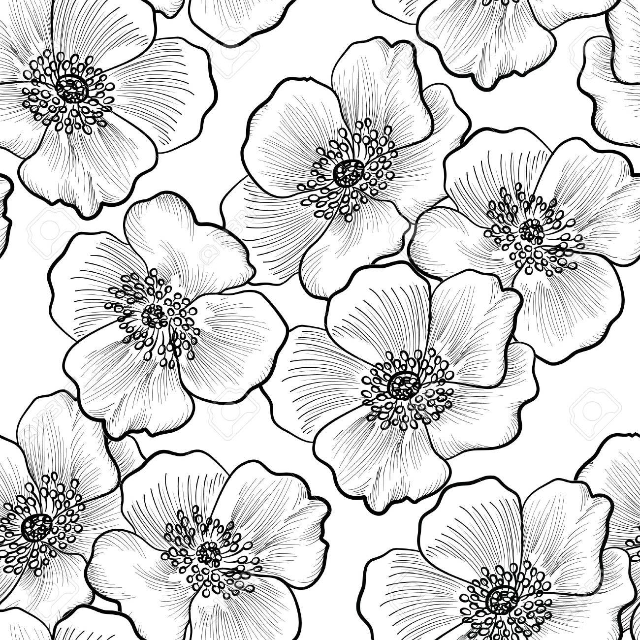 Floral Seamless Pattern Flower Background Flourish Sketch Black
