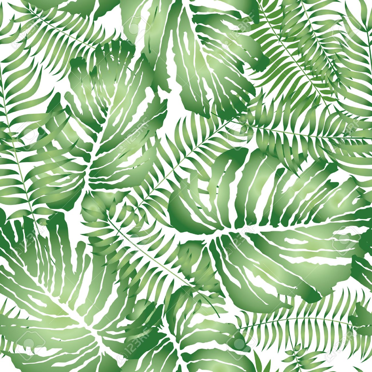 Floral Abstract Leaf Tiled Pattern Tropical Palm Leaves Seamless Background Stock Vector