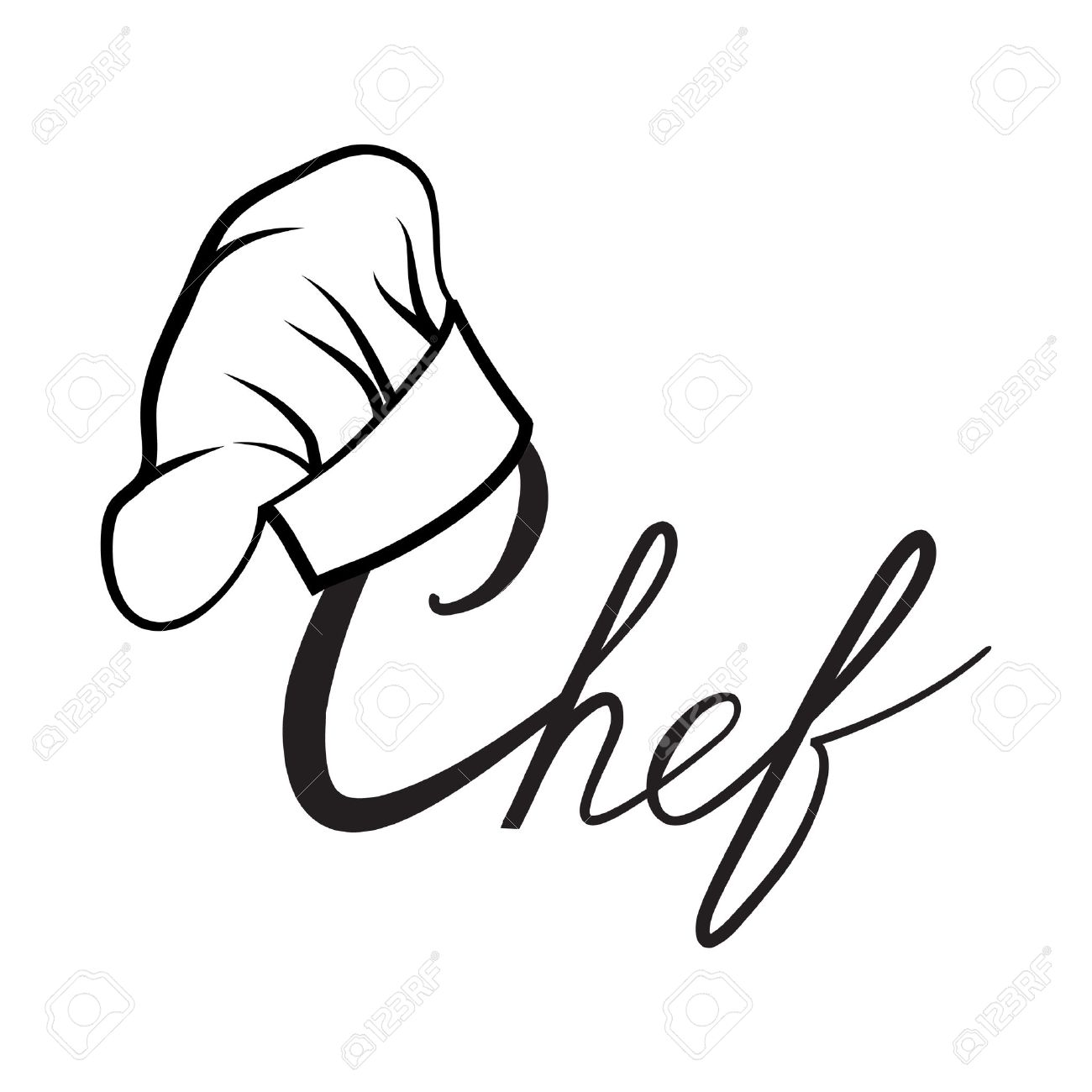 Cook hat. Drawn hat chef cook. Hat chef-cooker. Vector black hat chef cook on a white background - 50792428