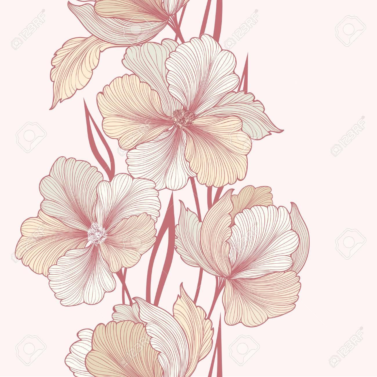 Floral background. Greeting card with flower. Flourish border. Gentle decor with summer flower dahlia. Gentle flourish vector illustration - 51737760
