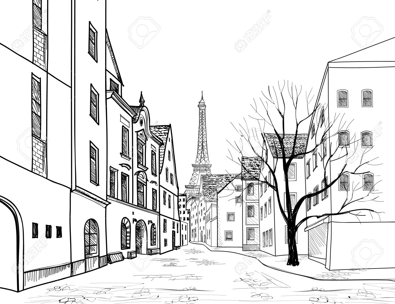 Paris street. Cityscape - houses, buildings and tree on alleyway with Eiffil tower on background. Old city view. Medieval european city landscape. Pencil drawn vector sketch Stock Vector - 51737812