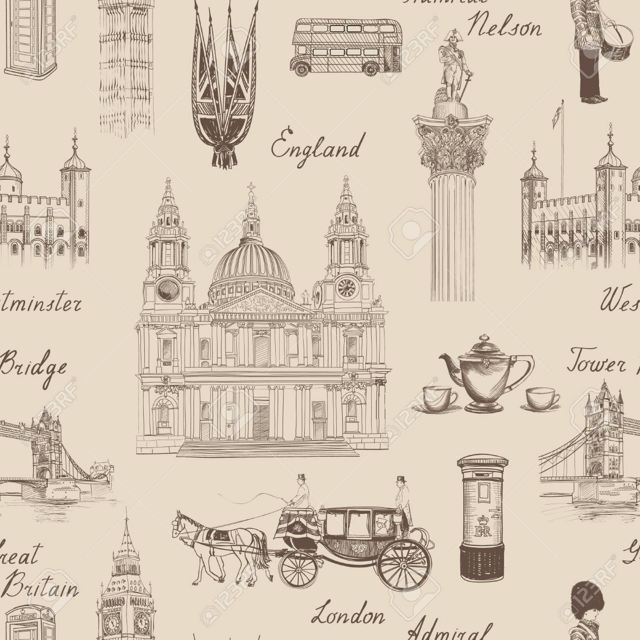 London landmark seamless pattern. Doodle travel Europe sketchy lettering. Famous architectural monuments and symbols. England vintage icons vector textured background - 51737814